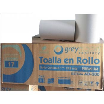 AD200-18 Toalla en rollo blanca 245 mts con 25 cms c/6 rollos IVA INCLUIDO Para despachador 59487A