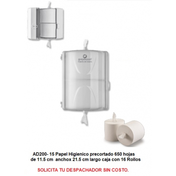 Papel Higienico AD ZERO precortado 528 hjs c/16 rollos Incluye IVA