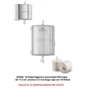 Papel Higienico AD ZERO precortado 650 hjs c/16 rollos Incluye IVA